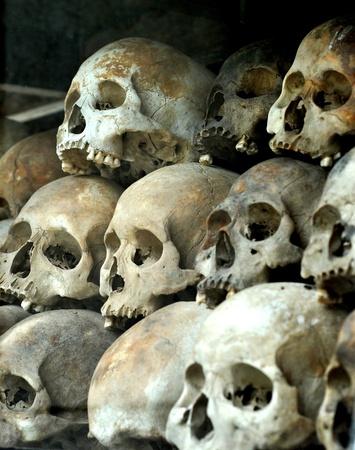 human skulls at the killing fields