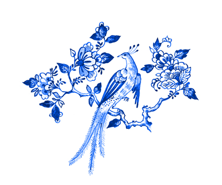 Delft blue style watercolour illustration. Traditional Dutch floral motif, paradise bird on a blossoming tree branch, cobalt on white background. Element for your design.