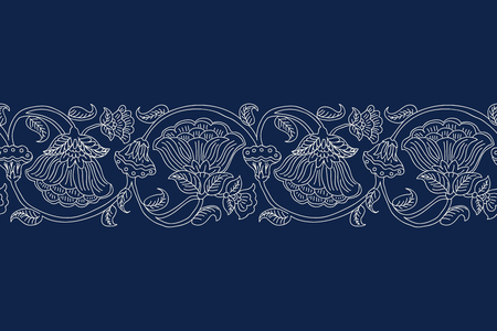 Illustration pour Woodblock printed indigo dye seamless ethnic floral border. Traditional oriental ornament of India, wave line of flowers and leaves, ecru on navy blue background. Textile design. - image libre de droit