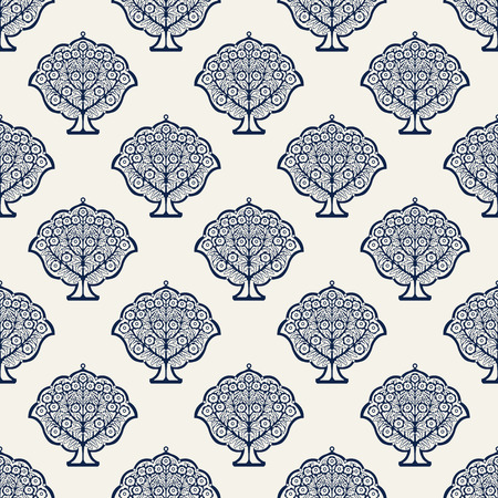 Illustration pour Indigo dye woodblock printed seamless ethnic floral all over pattern. Traditional oriental ornament of India, blossoming trees, navy blue on ecru background. Textile design. - image libre de droit
