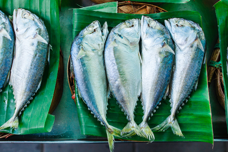 Mackerel with bamboo steamer basket in the market.