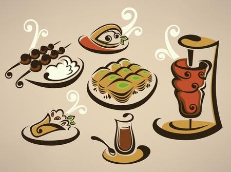 Illustration pour collection of arabian food images  - image libre de droit