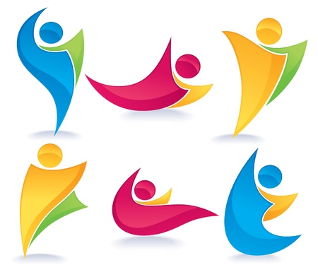 vector collection of abstract, colorful, active people doing fitness