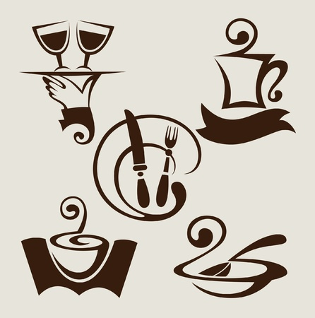 set of restaurant signs and symbols