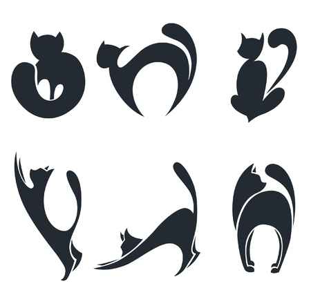collection of stylized cats silhouettes