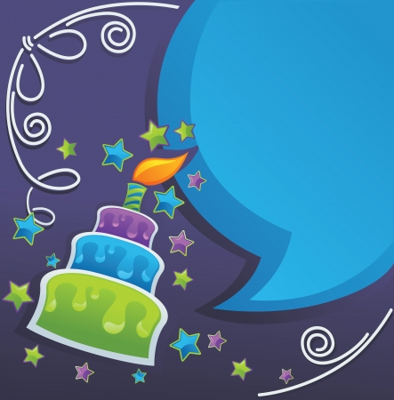 background with image of birthday cake, candle and speech bubbles