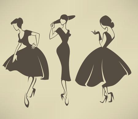 Foto de vector collection of girls in retro style - Imagen libre de derechos