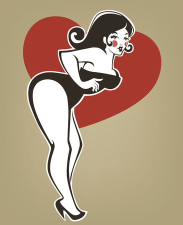 plus size pin up girl on beige background