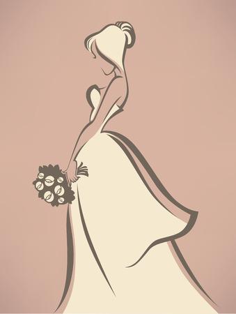 Illustration pour romantic bride in white dress - image libre de droit