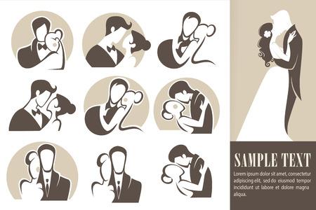 happy wedding,bride and groom, wedding icons, emblems
