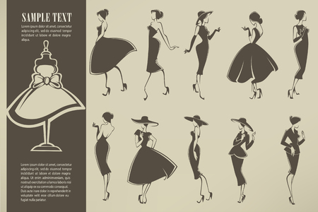 Illustration pour new look girls, vector collection of girls in retro style - image libre de droit