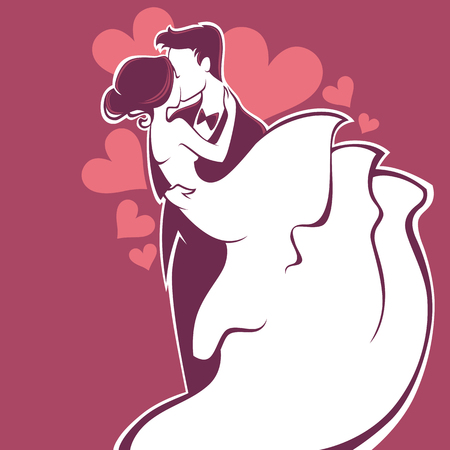 Illustration for bride and groom, wedding card in elegant style - Royalty Free Image
