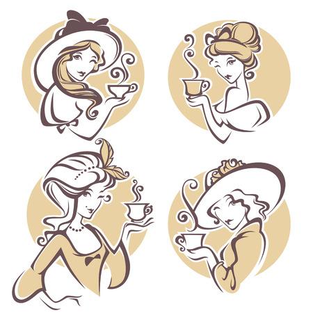 Illustration pour set of different historical womans with cup of tea, cafe or tea company - image libre de droit