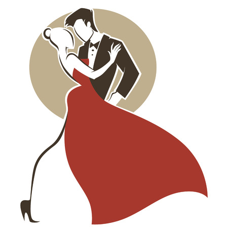 romantic tango, man and woman, wedding greeting card