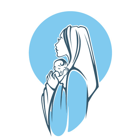 Illustration for vector illustration of virgin Mary and her holly baby - Royalty Free Image