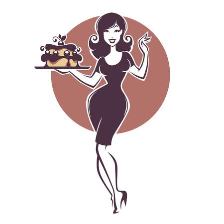 Vektor für beauty retro pinup girl holding a delicious tasty cake - Lizenzfreies Bild