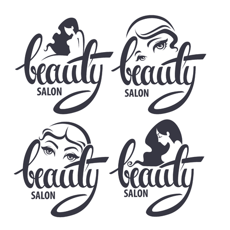 Illustration for beauty and hairstyle salon logo and emblem collection with Beauty lettering - Royalty Free Image