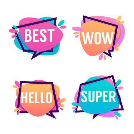 Illustration pour Cute And Bright Speech Bubbles With Emotional Words Best, Wow, Hello, Super - image libre de droit