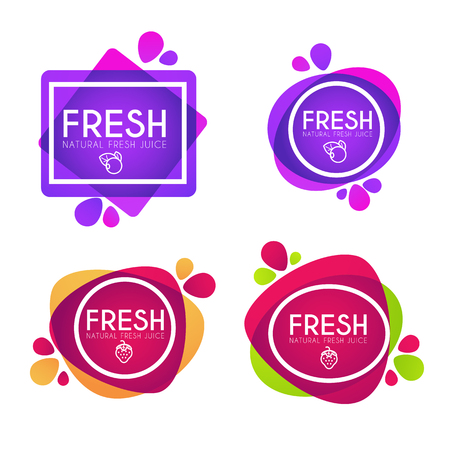 Ilustración de Vector collection of bright and shine stickers, emblems and banners for berry fresh juice - Imagen libre de derechos