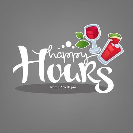Illustration pour take  your summer drink and enjoy our happy hour! vector commercial background - image libre de droit