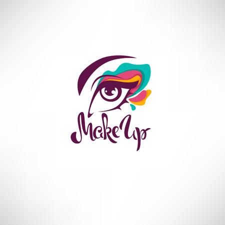 Illustration pour Woman eye with bright makeup and lettering composition for your logo, label, emblem - image libre de droit