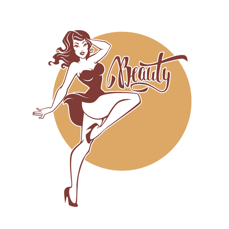 sexy and beauty retro pinup girl and lettering beauty