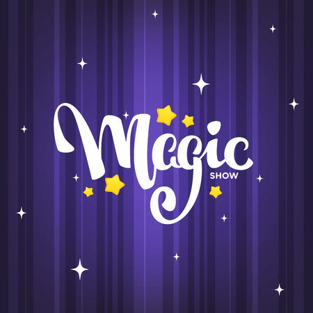 Illustration for Magic Show, letteing composition on magic background for your logo, poster, invitation - Royalty Free Image