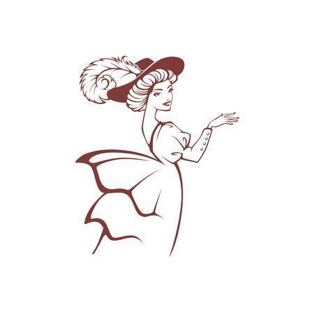 Ilustración de vector image of victorian woman in historical dress - Imagen libre de derechos