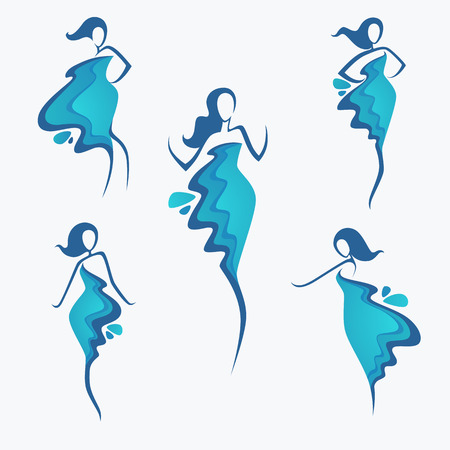 Illustration pour vector collection of water dress  girl's silhouette, for fashion, beauty and spa salon - image libre de droit