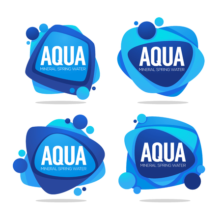 Illustration for natural spring water, vector  logo, labels and stickers templates with aqua drops - Royalty Free Image