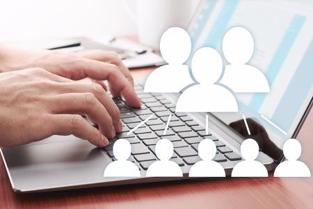 Photo pour Using internet for business communication. Online people network.  Businessman sending message by laptop. - image libre de droit