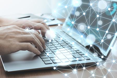 Photo pour Network technology concept. Businessman using laptop for data analysis. Laptop and network structure. - image libre de droit