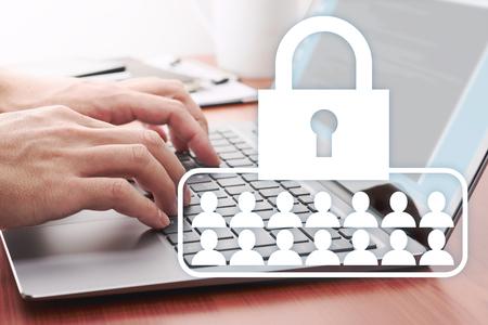 Photo pour Customer data security concept. Developing network security system.  Businessman using laptop at desk. - image libre de droit