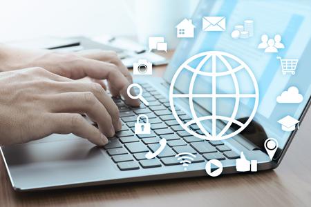 Photo pour Using online services concept. Internet technology and social media.  Laptop and many app icons. - image libre de droit
