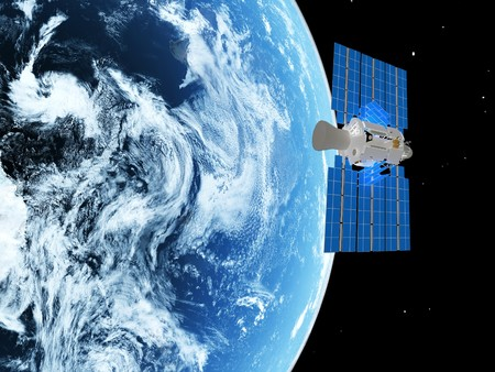 blue  planet earth and satelite  in space.