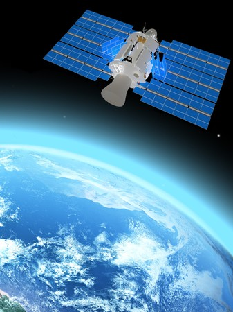 blue  planet earth and satelite  in space.の写真素材