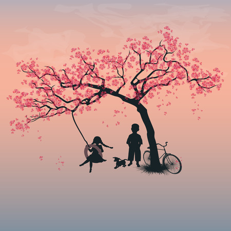 Children playing on a tire swing. Boy, girl and dog under the tree. Springtime. Cherry blossoms