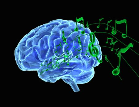 3d render illustration how music affects the brain