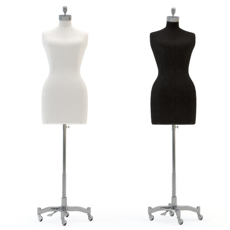 illustrate of a female mannequin , isolated, white bacground