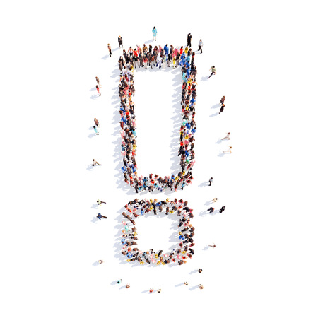 Large group of people in the form of an exclamation mark. Isolated, white background.