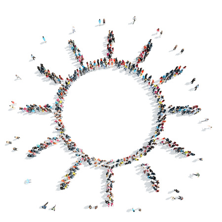 A group of people in the shape of the sun, weather, cartoon isolated on a white background.