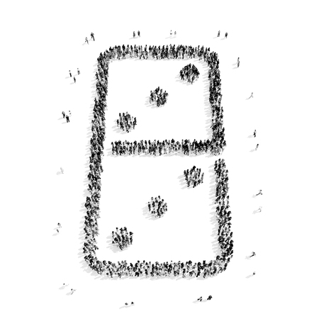A group of people in the shape of a domino, a flash mob.3D illustration.black and white