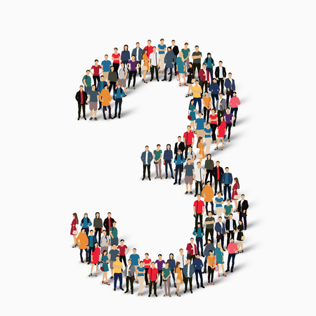 Photo pour A large group of people in the shape of the figure 3. A vector illustration. - image libre de droit