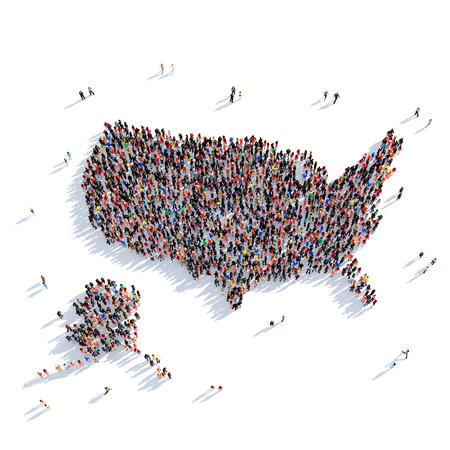 Large and creative group of people gathered together in the form of a map United States , a map of the world. 3D illustration, isolated against a white background. 3D-rendering.