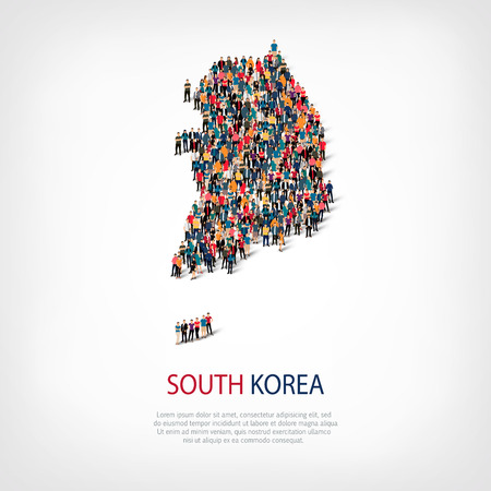 Isometric set of styles, people, map of South Korea , country, web infographics concept of crowded space, flat 3d. Crowd point group forming a predetermined shape. Creative people. Vector illustration. Photo vector.3D illustration. White background . Isol