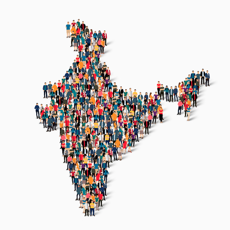 Isometric set of styles, people, map of India , country, web infographics concept of crowded space, flat 3d. Crowd point group forming a predetermined shape. Creative people. Vector illustration. Photo vector.3D illustration. White background . Isolated.