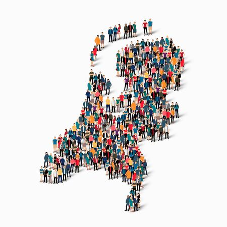 Isometric set of styles, people, map of Netherlands , country, web infographics concept of crowded space, flat 3d. Crowd point group forming a predetermined shape. Creative people. Vector illustration. Photo vector.3D illustration. White background . Isol