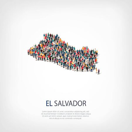 Isometric set of styles, people, map of El Salvador , country, web infographics concept of crowded space, flat 3d. Crowd point group forming a predetermined shape. Creative people. Vector illustration. Photo vector.3D illustration. White background . Isol