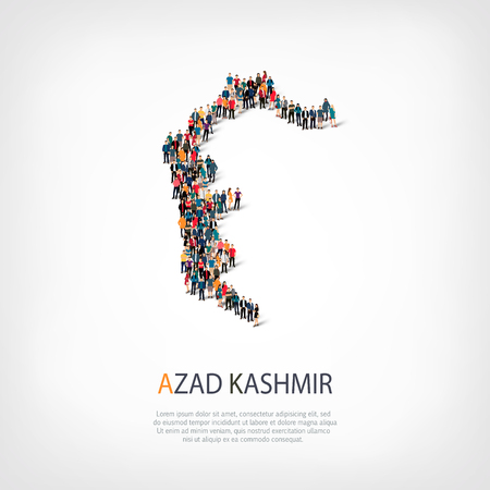 Isometric set of styles, people, map of Azad Kashmir, country, web infographics concept of crowded space, flat 3d. Crowd point group forming a predetermined shape. Creative people. Vector illustration. Photo vector.3D illustration. White background . Isol