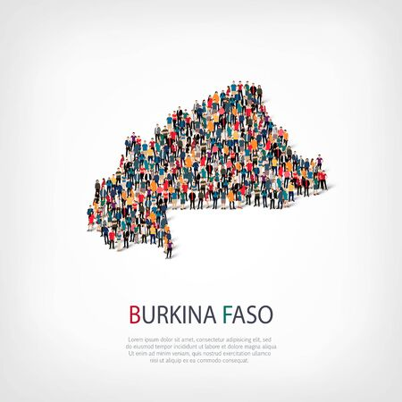 Isometric set of styles, people, map of Burkina Faso, country, web infographics concept of crowded space, flat 3d. Crowd point group forming a predetermined shape. Creative people. Vector illustration. Photo vector.3D illustration. White background . Isol